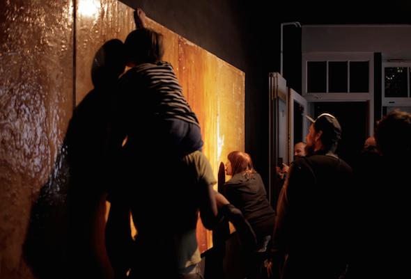 """Stefan Wilke - """"Installation shot of Stefan Wilke's Triptych and ACAD&C: 'Queering Taste: Total Affirmation' at Kreuzber Pavillion"""", (2015), photograph; Courtesy ACAD&C"""