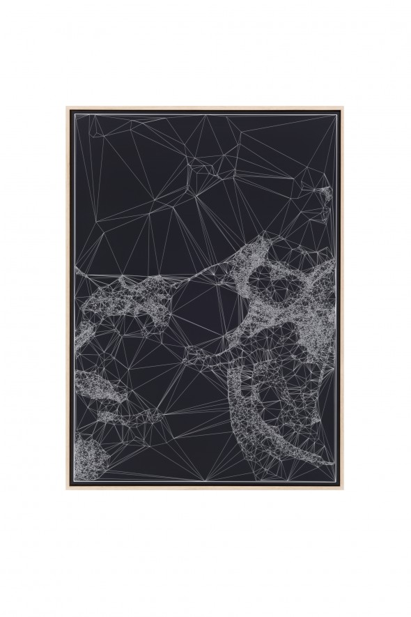 Iconographies #32, Judith & Holofernes, after Caravaggio, 2015, engraving on anodized aluminum // Image courtesy of NOME Gallery