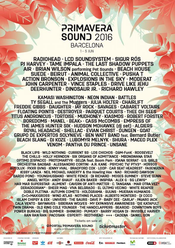 Primavera Sound Line Up 2016, courtesy of Primavera Sound