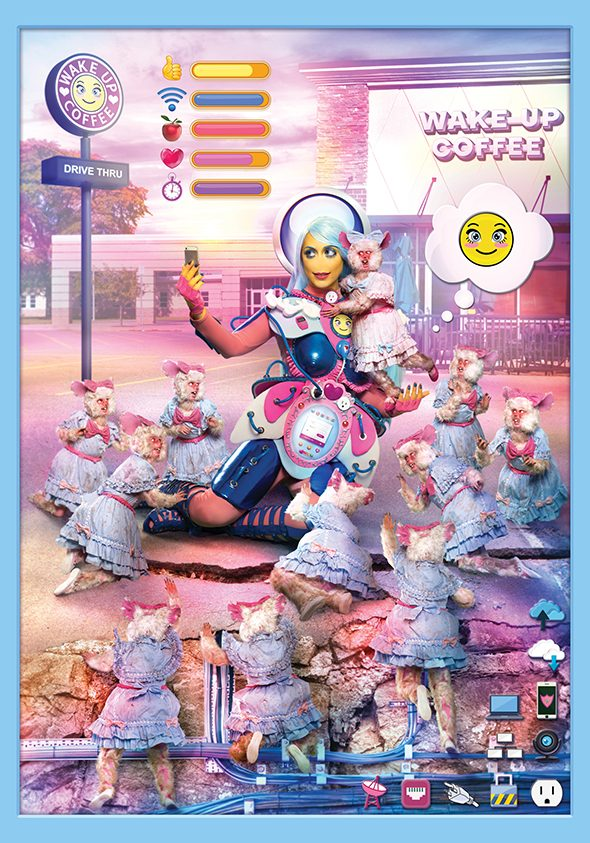 Rachel Maclean: 'We Want Data' , Dye sublimation fabric print series , 210×300 cm , 2016 // Commisioned by Artpace and HOME // Courtesy of the Artist and HOME  //