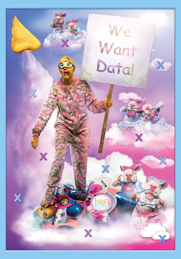 Rachel Maclean: 'We Want Data' , Dye sublimation fabric print series , 210×300 cm , 2016 // Originally commissioned and produced by Artpace and HOME // Courtesy of the Artist and HOME  //