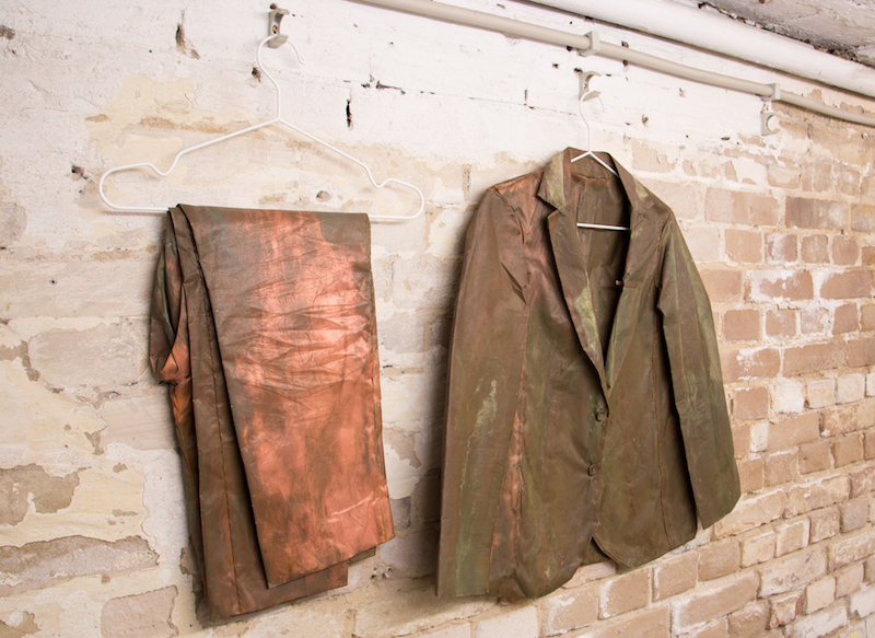 Miller Robinson, 'Cu Suit', 2016-Present, copper and polyester, artist's proportions. Courtesy of the gallery