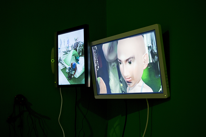 "[{ ""CIBELLE"" (CAVALLI} BASTOS )]: Installation view, ""#deprogram #unlearn #closedloop #ævtarperform #aevtarperform #avtarperform', 2017 // Photo by Keegan Luttrell, Courtesy of Agora Collective"