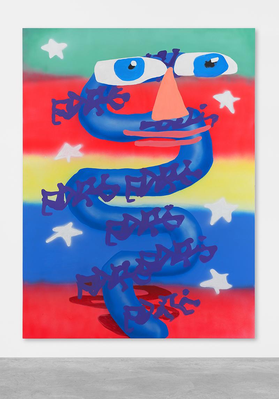 Austin Lee: 'SnakeEyes', 2018, Acrylic on canvas, 244 x 183 cm // Courtesy Peres Projects, Berlin; Photo: Matthias Kolb