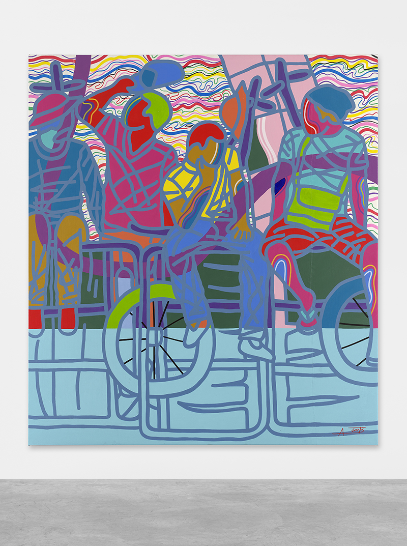 Ajarb Bernard Ategwa: 'No Job Since Morning', 2018. Acrylic on canvas. // Courtesy Peres Projects, Berlin; Photo: Matthias Kolb