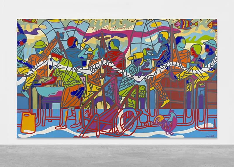 Ajarb Bernard Ategwa: 'Waaaa Mami Koki Dan Came', 2018. Acrylic on canvas. // Courtesy Peres Projects, Berlin; Photo: Matthias Kolb