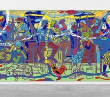 Ajarb Bernard Ategwa: 'The New Dialogue', 2018. Acrylic on canvas. // Courtesy Peres Projects, Berlin; Photo: Matthias Kolb