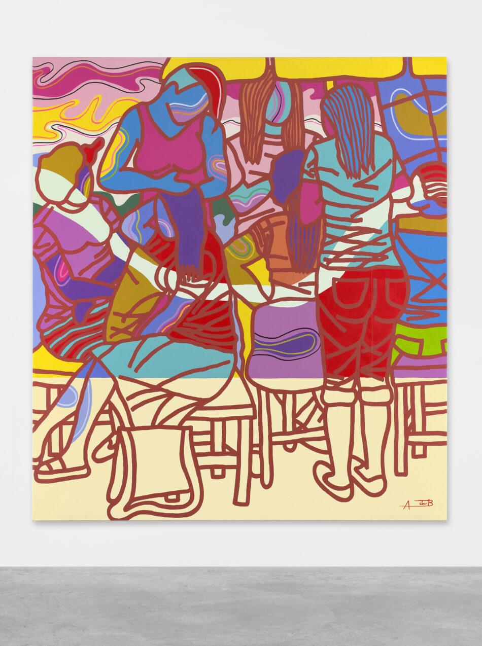 Ajarb Bernard Ategwa: 'Today is Saturday', 2018. Acrylic on canvas. // Courtesy Peres Projects, Berlin; Photo: Matthias Kolb