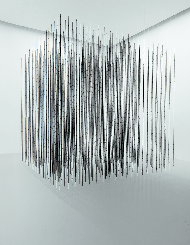 Mona Hatoum, 'Impenetrable', 2009. Black finished steel and fishing wire, 300 x 300 x 300 cm. // Courtesy of Mathaf: Arab Museum of Modern Art; Photo: Markus Elblaus