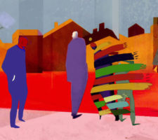 colourful animation still from the film Bless You! showing 4 figures on a street with houses behind, 2 of them entangled in multicolored scarves