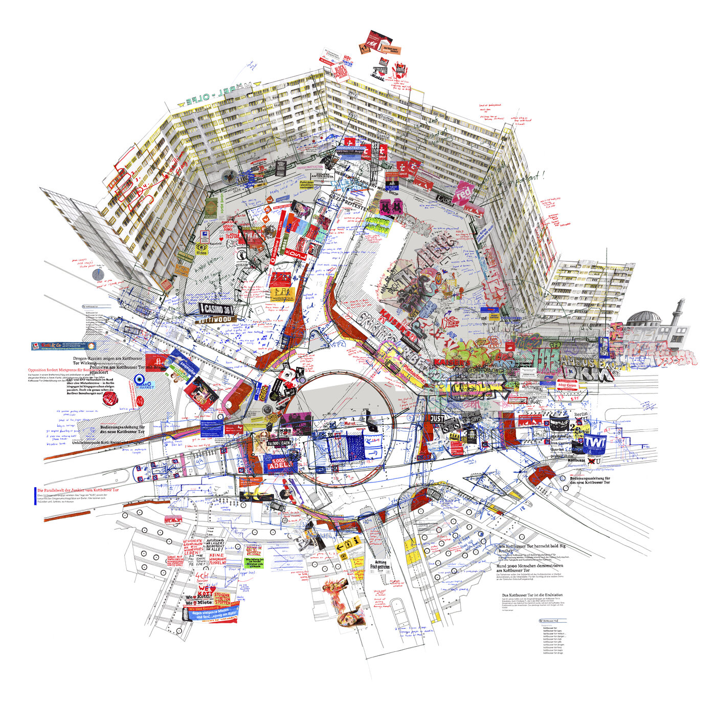 illustrated map of Kotbusser Damm by Larissa Fassler