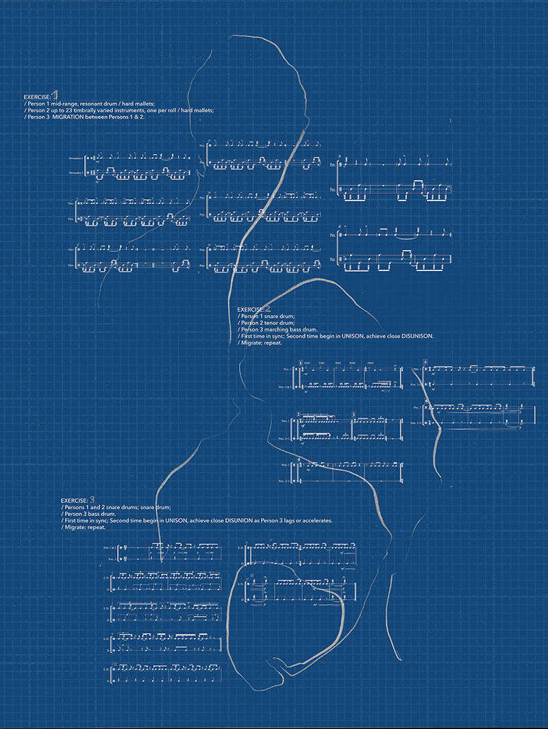 Music notations in blue takes on a gestural/graphic illustration of this musical composition and form