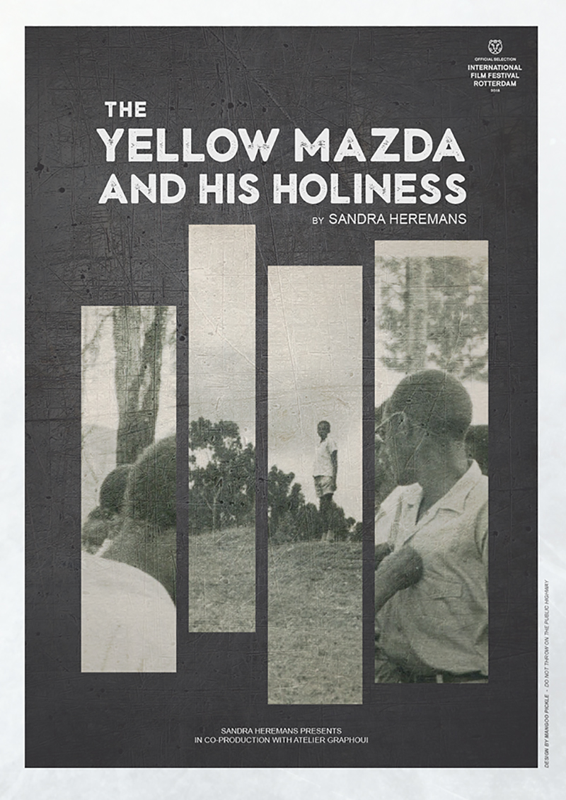 Berlin Art Link interview with Sandra Heremans. Film poster for the film 'The Yellow Mazda and His Holiness'. An archival image in black and white of people in Rwanda is broken up into separate rectangles, the gap between sections of the image creates a graphic separation between people.