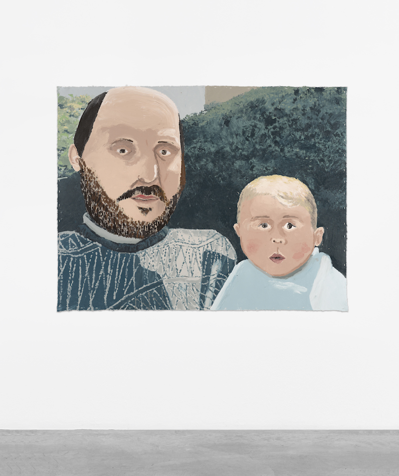 A painting of a person with a dark beard and dark balding hair, holding a bald baby on their lap, in front of a green bush