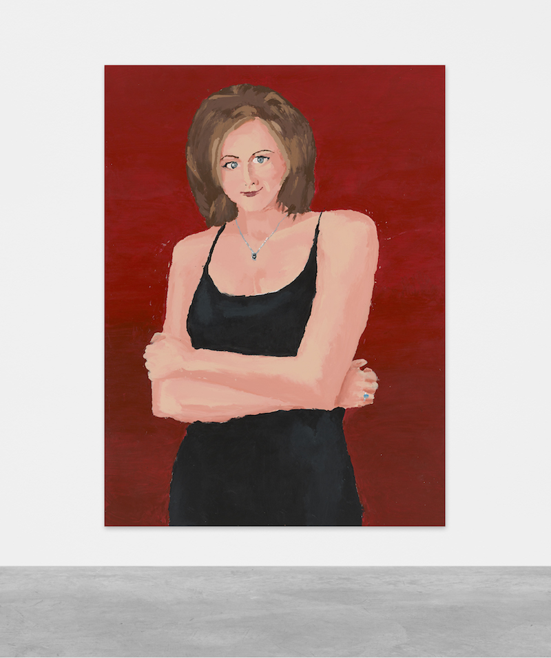 A mounted painting of Jennifer Aniston as Rachel from Friends, wearing a black slip dress and necklace, in front of a deep red background