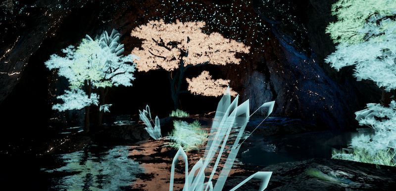 a digital image of a dark pond with foliage and small trees, digitally rendered blades of grass in the foreground