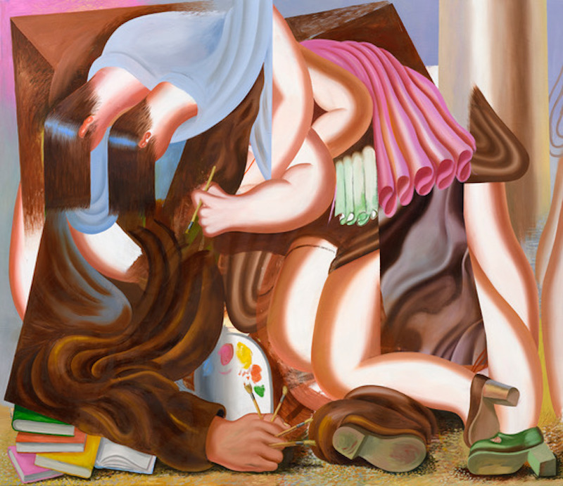 An oil painting of a abstract and gometricall women trying to find the inspiration while holding a paintbrush