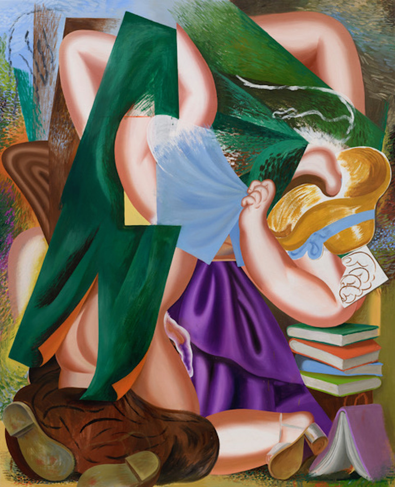 An oil painting, abstract and geometric figure of a women and men, books, the color purble and green are dominating the artwork
