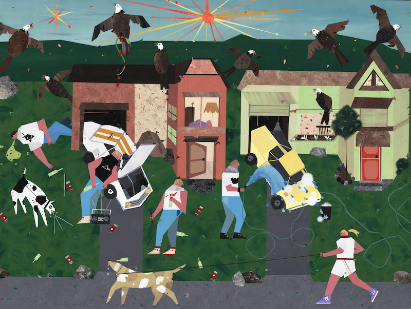 Painting by Andrea Joyce Heimer, flat perspective, eagles descending while chaos ensues, people vomiting, a car crash