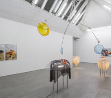 Installation view of amorphous sculptural forms in an environment akin to a surgical room