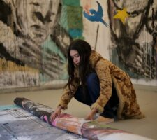 Rafaella braga is rolling on her canvas