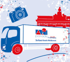 The blue outline of a truck appears on a grey background with the red outline of the Brandenburg Gate behind. The truck is surrounded by blue, white, and red paint splatters.