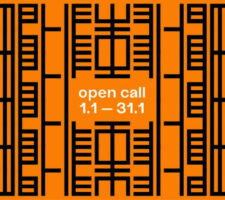 orange and black abstract pattern with text that says open call 1.1-31.1