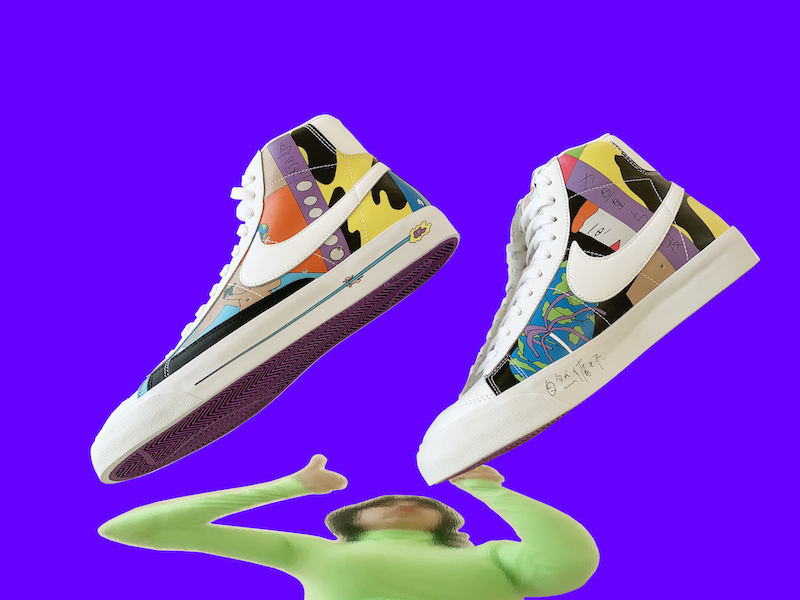Nike blazers designed by Ruohan Wang are pictured on a purple background above a distorted photo of Wang wearing a green top.