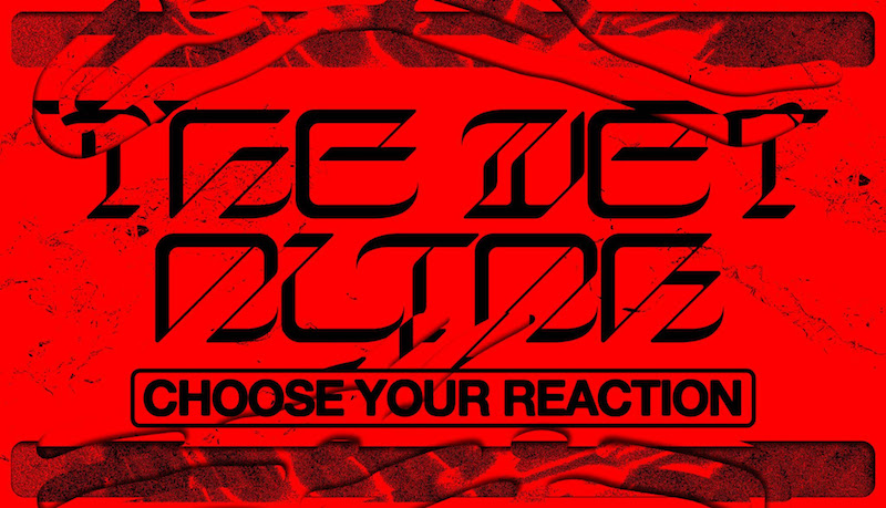 """a red graphic flyer with the words """"The Wet Altar"""" and """"Choose your reaction"""" written on it"""