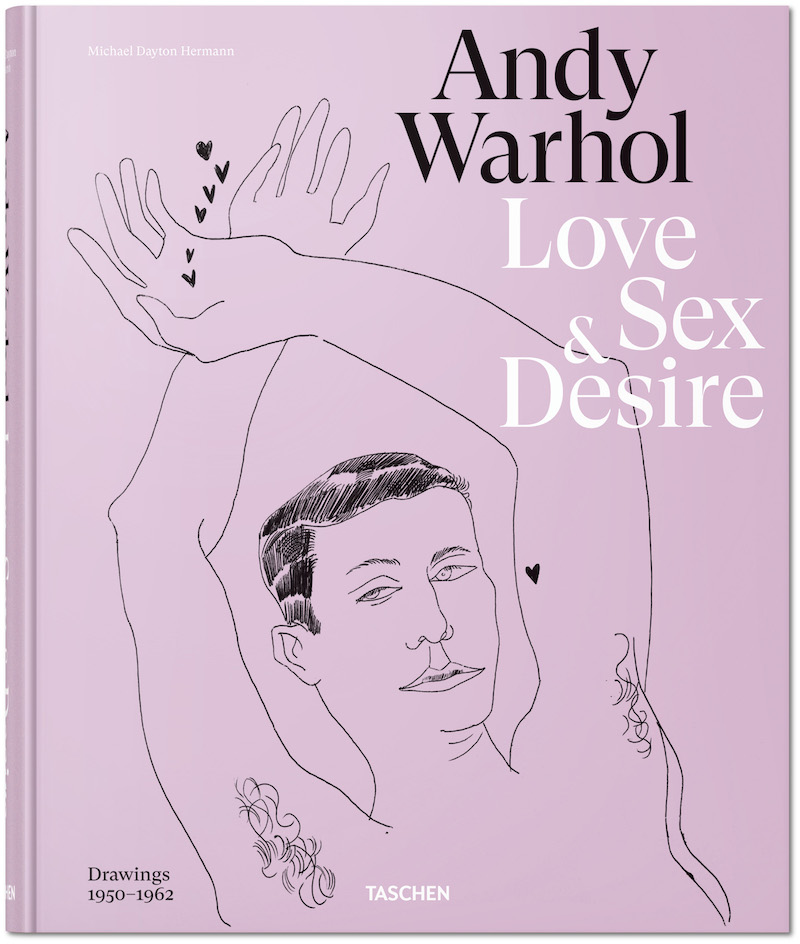 A photo of the cover the of Andy Warhol book of drawings titled Love Sex & Desire
