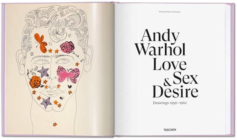 photograph of the inside of a book about Andy Warhol, showing a drawing of a man's head with colorful butterflies and flowers drawn on top of it on the left side and on the right side the title of the book