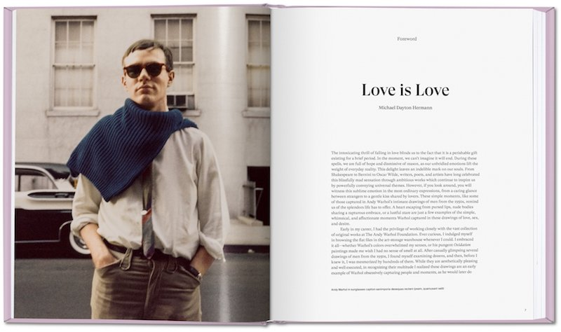 an inside spread of a book of Andy Warhol's drawings, on the left side is a photograph of a young Andy Warhol with a sweater draped on his shoulders and sunglasses on, on the left is an excerpt of the editor's introduction to the book
