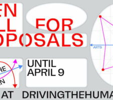 "Red writing on a grey background reads ""Open Call For Proposals Until April 9 Apply At DrivingTheHuman.com"". There is an x and y axis with a chart."""