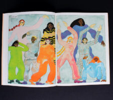 9 watercolour figures are pictured dancing in vibrant clothes.