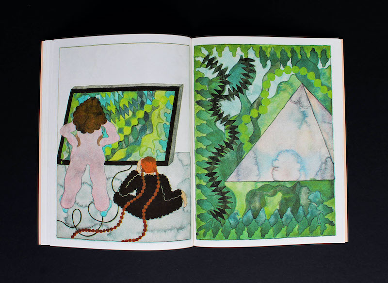 Two watercolour figures with their backs to the reader are viewing a painting of a jungle. On the page overleaf we see into the jungle world of the painting in more detail.