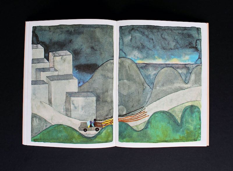 A car full of the characters in the book is journeying across two pages of the book toward the horizon.
