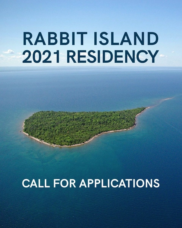 "A photograph of a green island surrounded by ocean reading ""Rabbit Island 2021 Residency Call For Applications""."