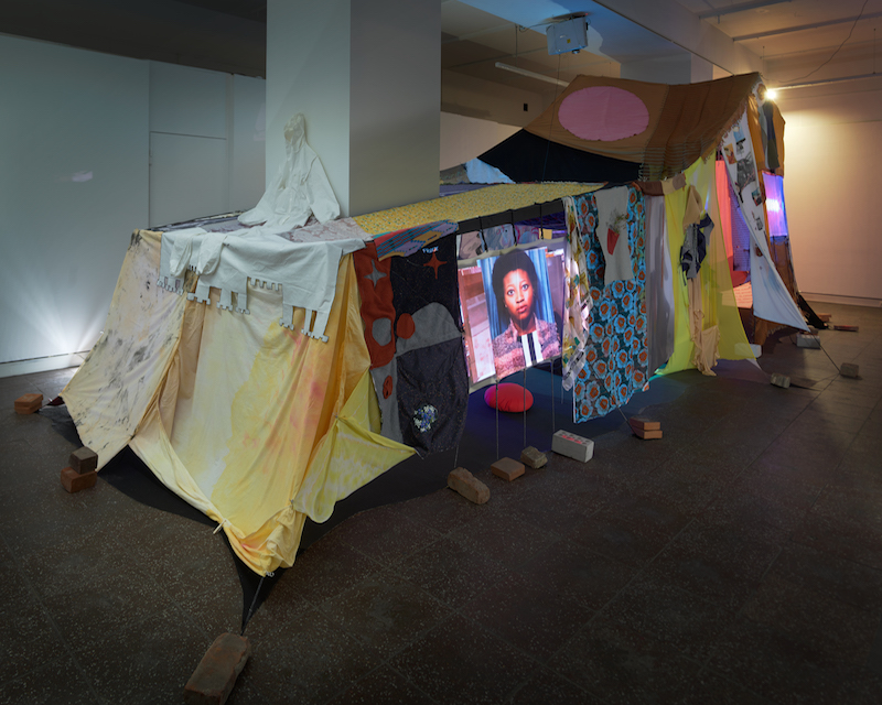 A photograph of the blanket fort at Galerie im Turm.