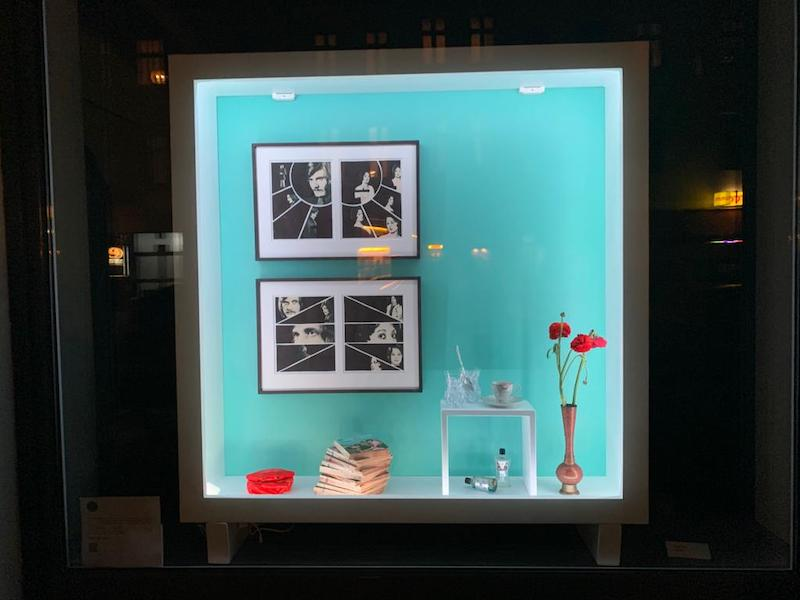 A view of the window containing Diana Artus' work exhibition 'Neutral Scene'