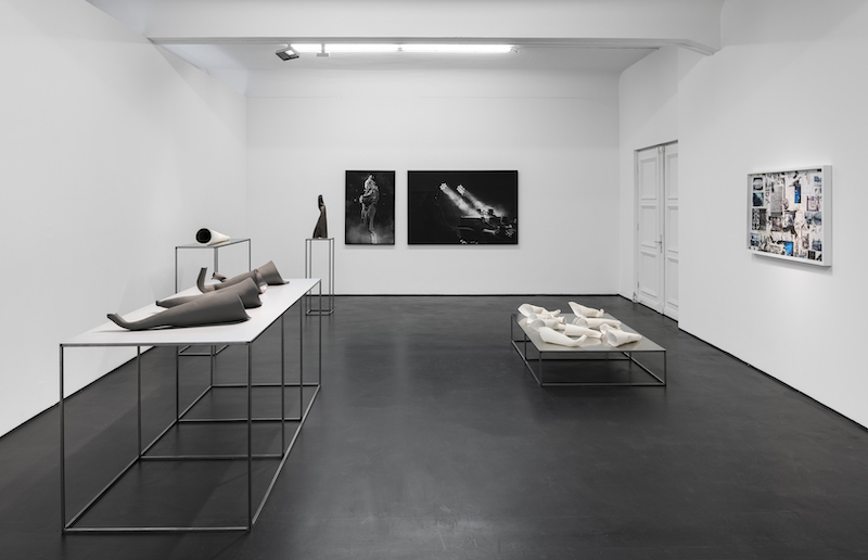A view of the exhibition including the photograph of Nowak's Berghain performance.