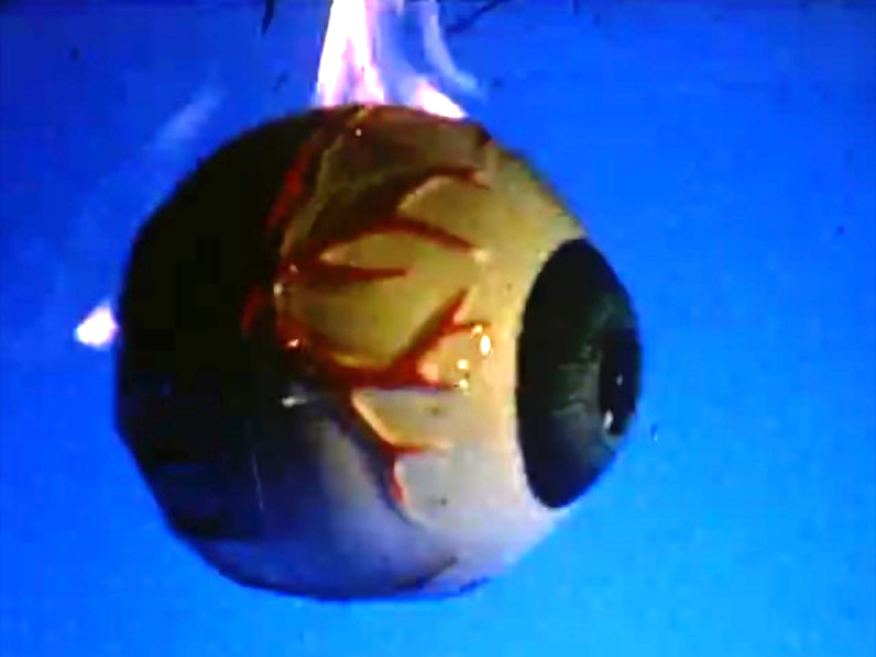 a suspended bare eyeball with exagerated red veins on the sides and a fire emerging from the top