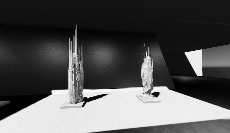 two tower-like sculptures in a black and white digital rendering