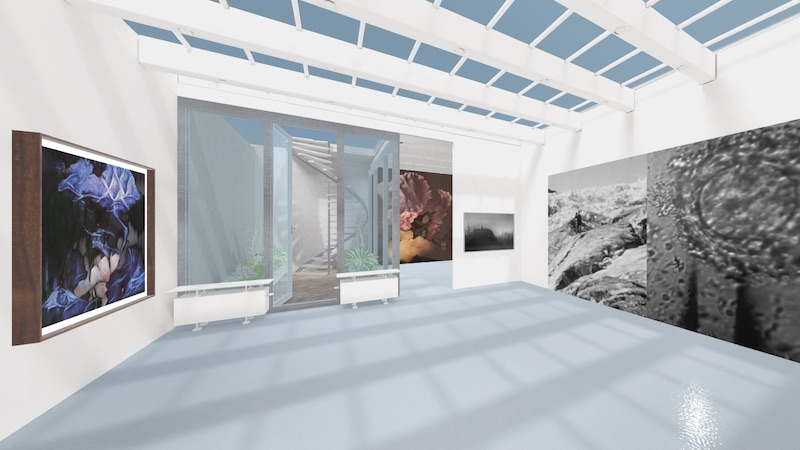a virtual rendering of a brightly-lit gallery space with works hung on the wall