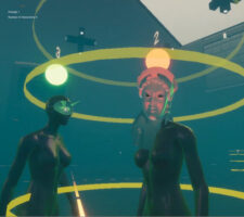 two digitally rendered figures stand in the middle of two yellow halo like circles, with green and orange lamps hanging from the ceiling above them