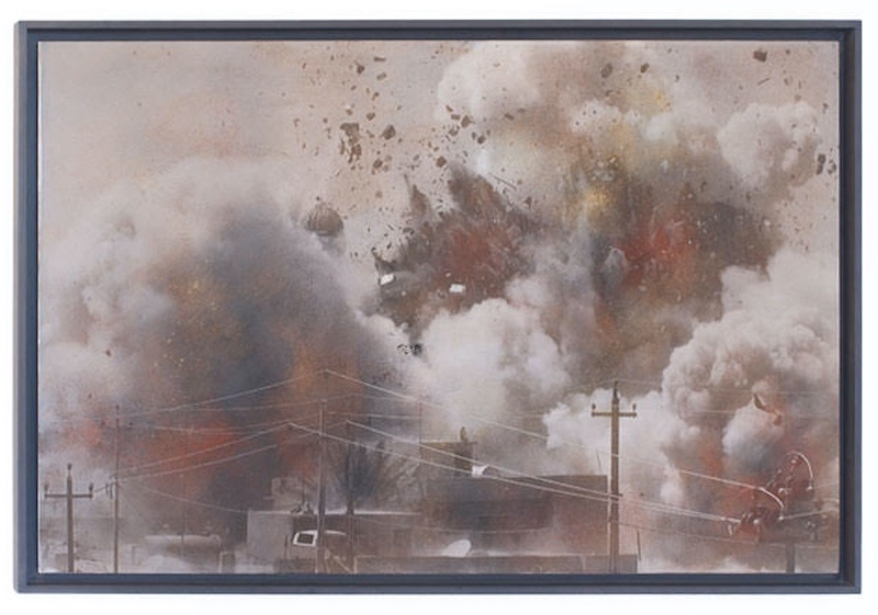 a painting of an explosion, with dark clouds hanging over a destroyed building