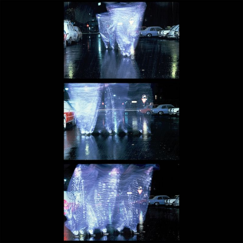 Three images depicting tornados of plastic on a dark street in the rain.
