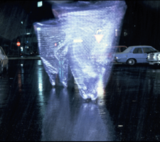 A tornado of plastic on a dark street in the rain.