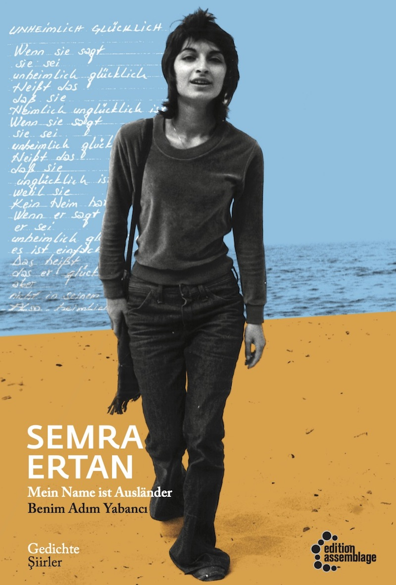 the cover of a book of poetry by Semra Ertan, which shows the author walking on a beach in Kiel, as if toward the reader