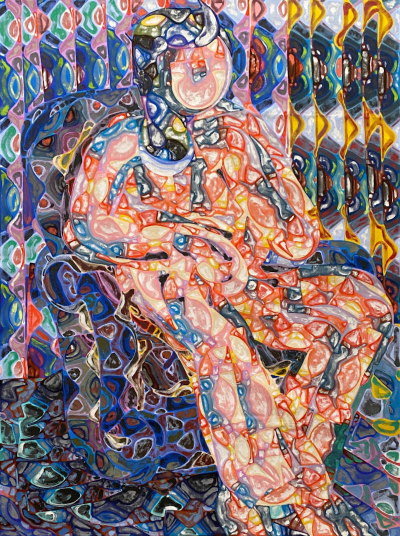 a painting of a  seated figure made up of abstract colorful doodles