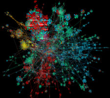 a constellation of nodes in a colourful networked data visualization, against a black background